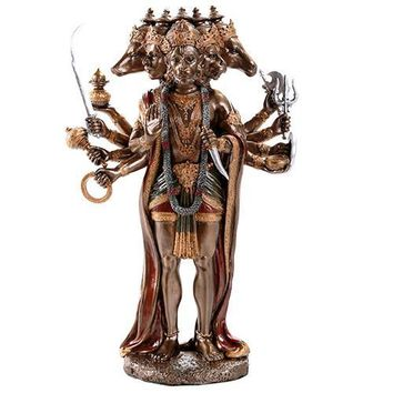 Hanuman Hindu Monkey Deity Statue with Many Heads and Arms 9.75H