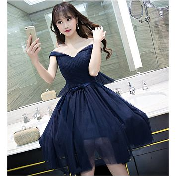 2017 Short Bridesmaid Dresses Dark Navy Blue Wedding Party Gowns Off the Shoulder Portrait Neck Maid of Honor Dress for Wedding