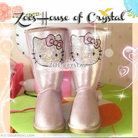 WINTER Pink Metallic Sheepskin Boots with cute HELLO KITTY
