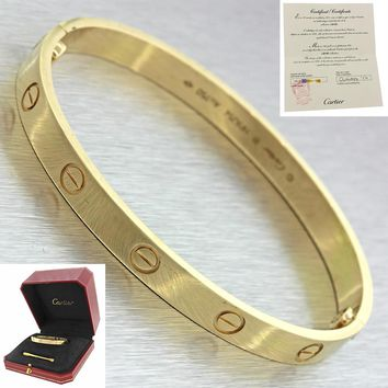 2014 Cartier 18k Solid Yellow Gold New Style Love Bangle Bracelet 18 Box Papers