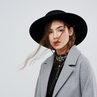 ASOS Felt Boater Hat With Chin Tie at asos.com