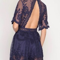girl talk open back lace embroidered romper - more colors