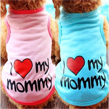 Summer Dog Clothes Pet T shirt Puppy Soft Cotton Costume Vest Teddy Love Daddy Mommy Chihuahua Outfit For Dog Clothes S-XXL 15S2