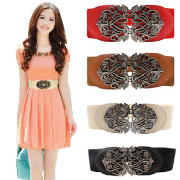 Elastic Belt with Alloy Flower