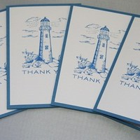 Lighthouse Thank You Hand Made Stationery Note Card Set of Four