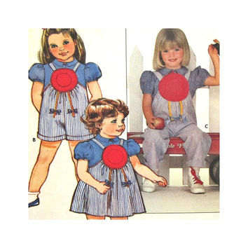 Butterick 4878 Uncut Pattern Girls Blouse Jumper Jumpsuit Size 3 4 5 6 6X Ruth Scharf