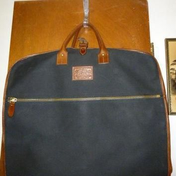 Vintage Ralph Lauren Polo Safari Outfitters Brown Leather Black Canvas Garment Bag