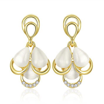 18K Gold Triple Pearl Drop Down Earrings Made with Swarovksi Elements