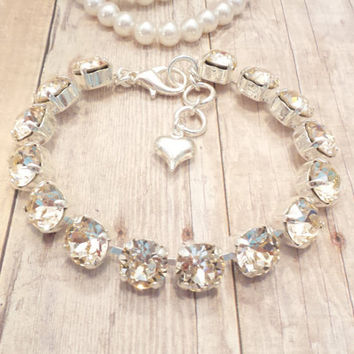 SILK GLAMOUR, swarovski, bracelet, 8mm, neutral color, designer inspired, bridal, dksjewelrydesigns