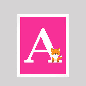 Monogram First Initial, Woodland Forest Animal Fox Wall Art CUSTOMIZE YOUR COLORS 8x10 Prints, nursery decor nursery print baby room decor