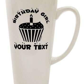Personalized Birthday Girl Cupcake -Customizable- Name 16 Ounce Conical Latte Coffee Mug