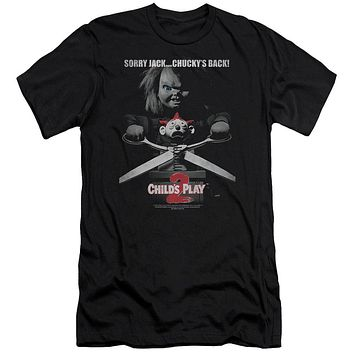 Childs Play Slim Fit T-Shirt Sorry Jack Chuckys Back Black Tee