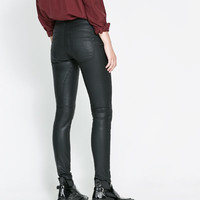 SKINNY TROUSERS WITH COATED SEAMS - Trousers - Woman | ZARA United States