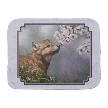 Wolf Pup and Flowers Baby Burp Cloths