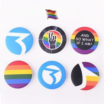 LGBT BUTTON/PIN Gay Pride Fashion Jewelry Rainbow Homosexual Pin Badge Button Support Lesbian Bisexual Symbol