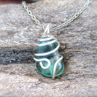 Green Fluorite Necklace - Wire Wrapped Stone Jewelry - Fluorite Jewelry - Green Stone Necklace - Gypsy Boho Jewelry - Bohemian Necklace