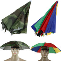 2016 New Portable 55cm Usefull 2 Colors Umbrella Hat Sun Shade Camping Fishing Hiking Festivals Outdoor Brolly