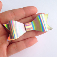 Holographic Shiny Silver Canvas / Vinyl Hair Bow - 3 inches