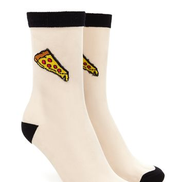 Pizza Mesh Knit Crew Socks