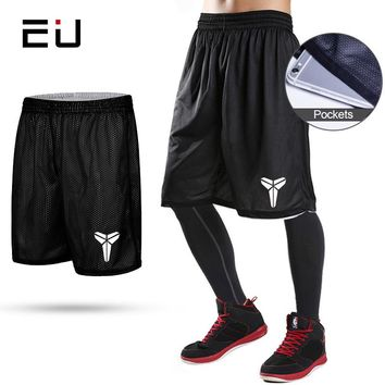 EU Reversible Basketball Shorts with Pockets Quick Dry Breathable Training Basketball Shorts Men Fitness Running Sport Shorts
