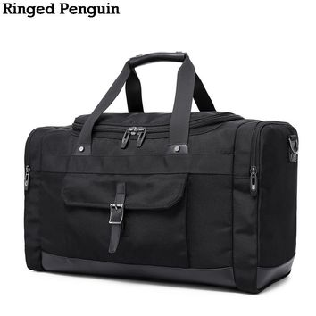 Ringed Penguin Oxford Men Travel Bags Carry on Luggage Bags Men Duffel Bags Travel Tote Large Weekend Bag Overnight