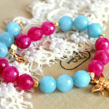 Pink aqua semi precious agate - elegant classic gem stone bracelet with agate and 14k goldfield Dragonfly.