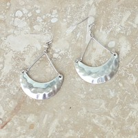 Hammered Silver Earrings-Crescent Earrings-$20.00 | Hand In Pocket Boutique