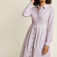 Broadcast Coordinator Shirt Dress in Dotted Wine