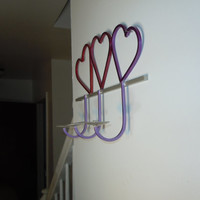 3 Heart metal candle holder - wall mounted for Mothers Day