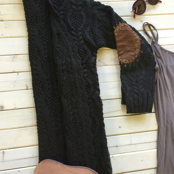 An Elbow Patch Cardi in Deep Olive