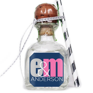 Modern Initial Monogram - Wedding Patron Mini Bottle Labels