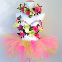 Pink & Green Blossom Rave Bra / EDC Outfit