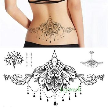 Waterproof Temporary Tattoo sticker body henna waist breast chest mandala tatto stickers flash tatoo fake tattoos for women 19