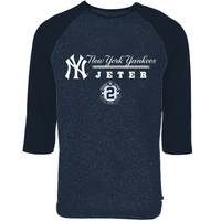 Derek Jeter New York Yankees Majestic Threads Three-Quarter Sleeve Tri-Blend T-Shirt – Navy Blue