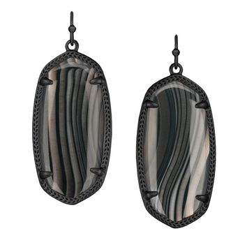 Kendra Scott Elle Earrings in Black Banded Agate
