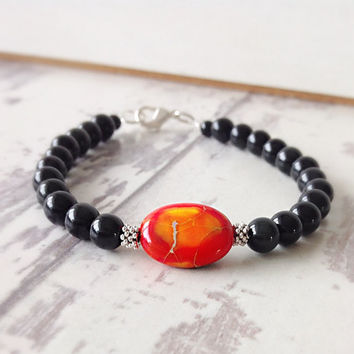 Orange stone bracelet, stone jewelry, black and orange, gemstone bracelet, natural stone bracelet, jasper jewellery, black bracelet