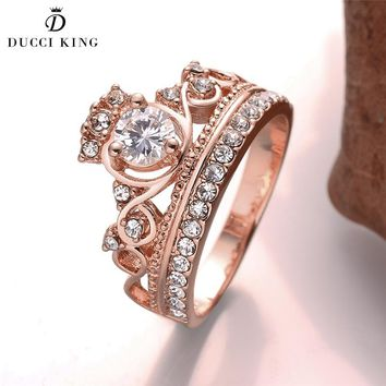 Engagement Princess Queen Crown Wedding Ring Rose Gold Color CZ Rings for Women Elegant Fashion Aneis De Ouro Zirconia Jewelry