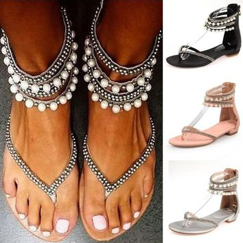Women's  New Boho Beading Rhinestone Sandals - So Cute - Free Shipping