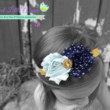 Navy Mint Mustard Headband, White Polka Dot Headband, Newborn Fall Photo Prop, Toddler Hairband, Shabby Flower Accessory, Bow Clip