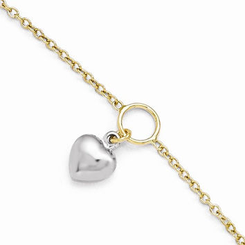 14K White and Yellow Gold Polished Heart Anklet Bracelet