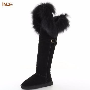INOE new fashion thigh cow suede leather suede natural fox fur over the knee long winter snow boots for women high winter shoes