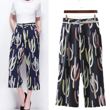 Women's Fashion Print Pants High Rise Casual Cropped Pants [4919020356]