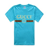 GUCCI Fashion New Summer Bust Letter Print Women Men High Quality Top T-Shirt Blue