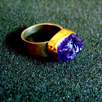 Beautiful silver, gold and rough amethyst ring-925 silver, 18k gold and amethyst ring-Gemstone rings for women-Artisan jewelry-Greek art