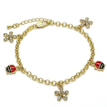 Gold Layered 03.63.1364.07 Charm Bracelet, Flower and Ladybug Design, with White Crystal, Multicolor Enamel Finish, Gold Tone