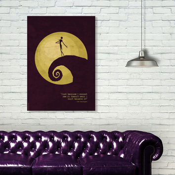The Nightmare Before Christmas Poster, Tim Burton Movie, Jack and Sally
