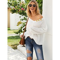 V Neck Button Decoration Oversized Tee