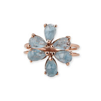 AQUAMARINE BLOSSOM STACKER RING