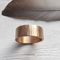 structured bronze ring 5mm to 8mm wide mens ring wood texture tree bark texture waterfall bronze ring