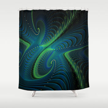 Blue Green Fractal Swirls Shower Curtain by Awesome Palette